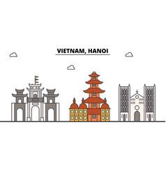 vietnam hanoi outline skyline vietnamese flat vector image vector image