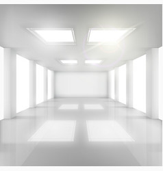 White room with windows in walls and ceiling vector