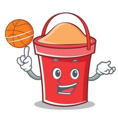 with basketball bucket character cartoon style vector image