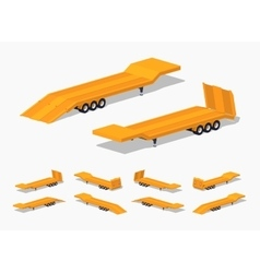 Yellow low-bed trailer vector