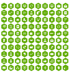 100 interaction icons hexagon green vector