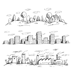 Landscapes hand drawn vector