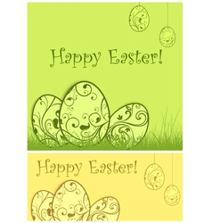 easter eggs green grass vector image