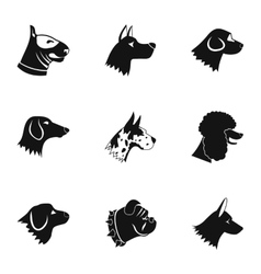 Types of dogs icons set simple style vector