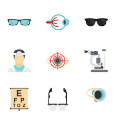 Optometry icons set flat style vector