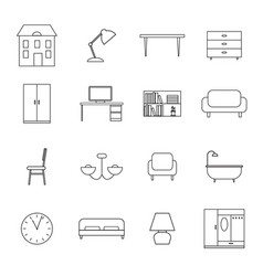 Furniture and home decor icons vector