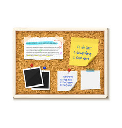 bulletin board with photos post it notes and torn vector image