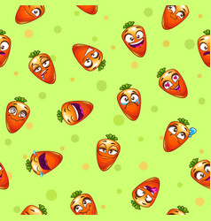 Seamless pattern with funny cartoon carrot vector