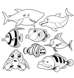 Fish sea black and white set vector image