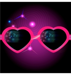 Glasses on disco background vector