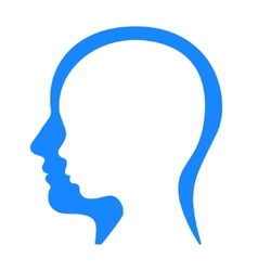 Man and woman face profile silhouette vector