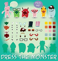 Set of cute little monsters for dress up vector