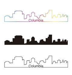 Columbia skyline linear style with rainbow vector