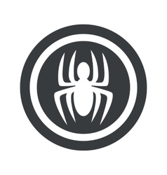 Round black spider sign vector