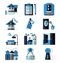 Rent real estate blue flat icons vector