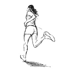 Hand sketch of a running woman vector