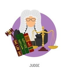 Judge icon with scales and gavel vector