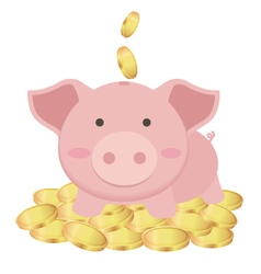 Cute piggy bank standing on many gold coins vector