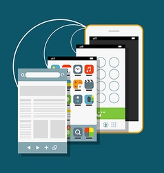 Modern smartphone with different application vector image