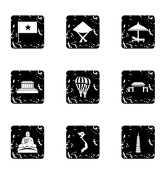 Attractions of vietnam icons set grunge style vector