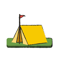camping tent in grass vector image