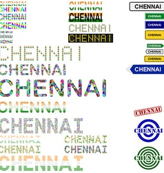 Chennai text design set vector