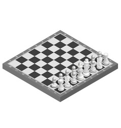 Chessboard with photorealistic pieces isometric vector