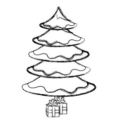 christmas pine tree icon vector image