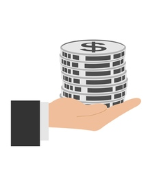 Coins in hand icon vector