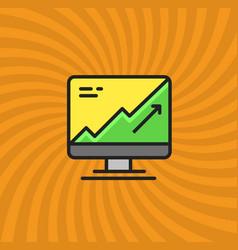 computer statistics increase icon simple line vector image vector image