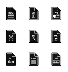Document types icons set simple style vector