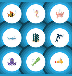 Flat icon sea set of shark cancer hippocampus vector