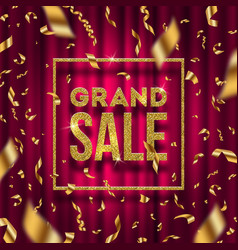 glitter gold grand sale sign vector image vector image