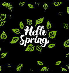 Hello spring greenery design vector