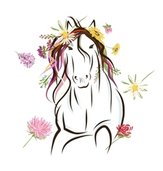 Horse sketch with floral decoration for your vector image vector image