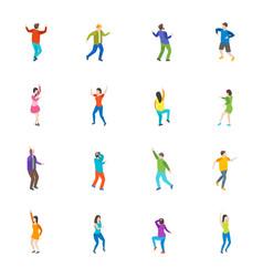 Isometric dancing people characters icon set vector