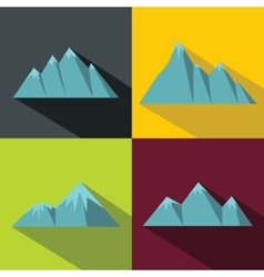 Mountain blue icons with long shadow on color vector image