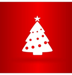 Nice Christmas tree on the red background vector image vector image