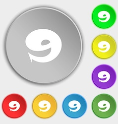 Number nine icon sign symbols on eight flat vector