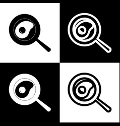 Omelet at pan icon black and white icons vector