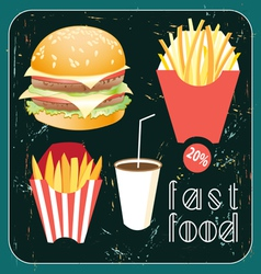 poster with food fast food vector image vector image