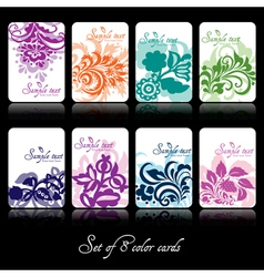 Set of eight colorfu floral cards vector image vector image