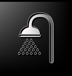 Shower sign gray 3d printed icon on black vector