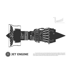 silhouette of jet engine of aircraft vector image