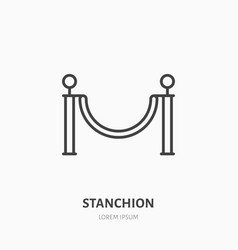 stanchions flat line icon barrier cinema red vector image