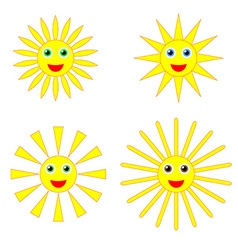 Sun smiles collection vector