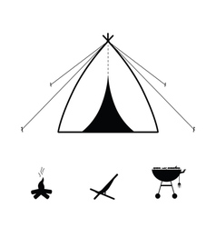 Tent camping icon vector