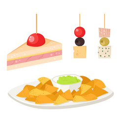 Various meat canape snacks appetizer fish and vector