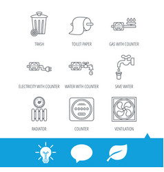 ventilation radiator and water counter icons vector image