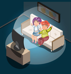 watching tv at home man and woman in living room vector image vector image
